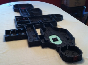 The Vat Complex, done up using Dwarven Forge dungeon tiles.  The green-ish circle is a pool of acid.