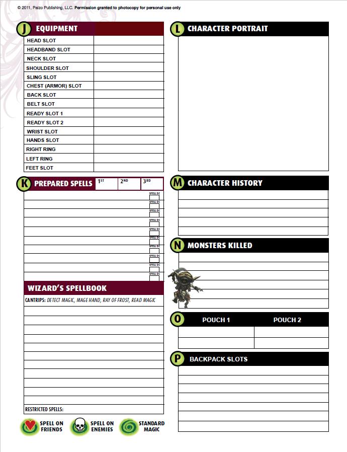 pathfinder character sheet editable excel